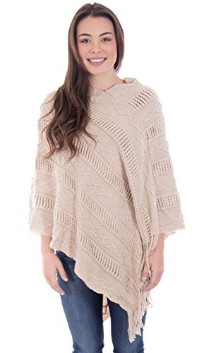 Simplicity Ponchos for Women Batwing Knitted Tassel Sweater Pashmina Shawl Khaki ()
