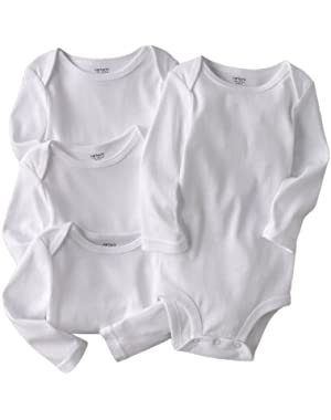 Little Layette 4-pack Long Sleeve White Cotton Knit Bodysuits (18 Months)