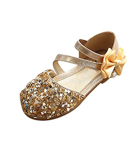 NiSeng Mädchen Prinzessin Schuhe Elegant Festlich Schuhe Ballerina Schuhe Prinzessin Schuhe Gold