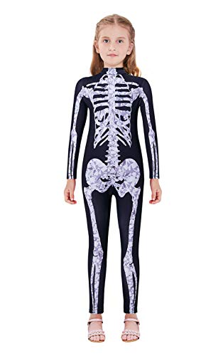 Halloween Costumes For Teenage Girls Age 13 (Girls Funny Halloween 3D Skeleton Printed Cosplay Costumes Long Sleeve Zip-up Skintight Catsuit Bodysuit Black for Costume Ball Age)