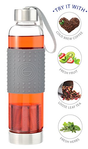 GROSCHE Marino 550ml/18.6oz Water and Tea Travel Infuser Glass and Stainless Steel Sport Water Bottle with Built-in Tea Infuser; Tea Tumbler and Water Bottle Grey