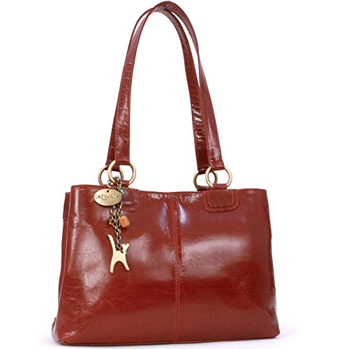 Catwalk Collection Handbags - Women's Large Vintage Leather Tote/Shoulder Bag - BELLSTONE - Red