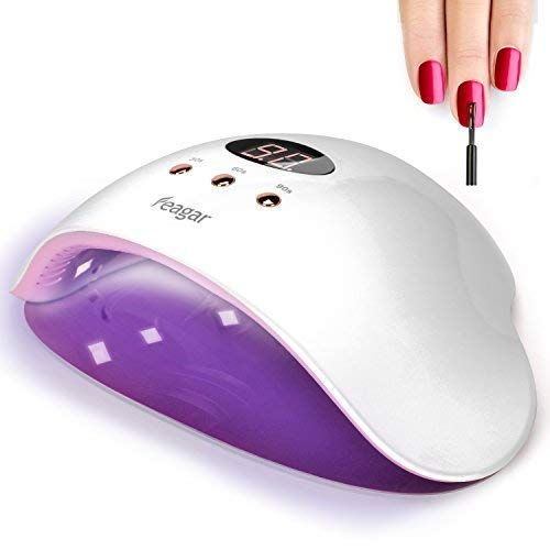 Nail Curing Lamp, Feagar Portable Nail Dryer, UV/LED Gel Nail Polish Light with Automatic Sensor for Fingernails and Toenails, White (12W nail lamp)