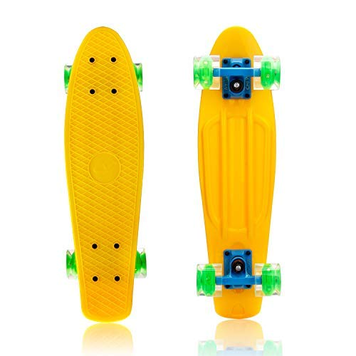 Tronet Skateboard Long Board Skateboard High Bounce Plastic PP Fully Assembled, Plastic Cruiser 22