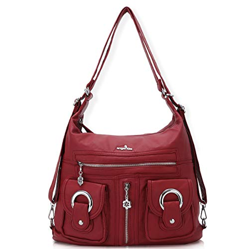 (Angelkiss Women Multifunctional Soft Leather Satchel Handbag Purses Shoulder Hobo Messenger Crossbody Zipper Bag with Pocket (Red))