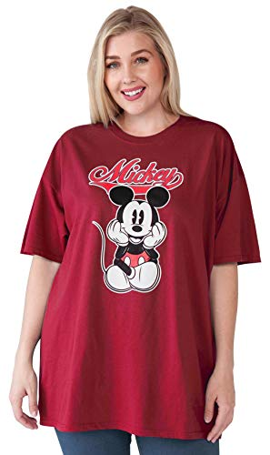 Disney Women's Plus Size T-Shirt Mickey Mouse 100% Cotton (Cardinal Red, ()