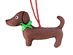 Weenie Warmers Dachshund Christmas Tree Ornament (Chocolate Brown)