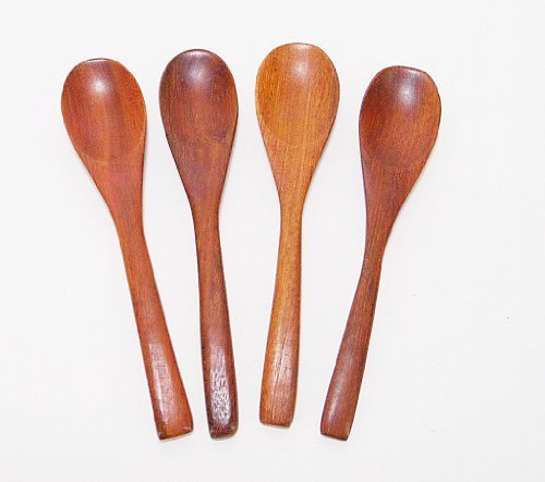 CandyHusky's Mini Wooden Condiments Ice-cream Sugar Salt Spoons Small Spoons Red Wood (10)