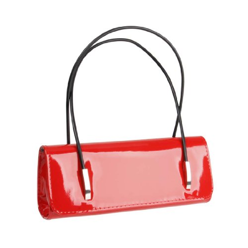 BMC Womens Synthetic Patent Leather Evening Clutch w/ Black Cord Shoulder Straps - LUSCIUOS RED Red Leather Purse Handbag