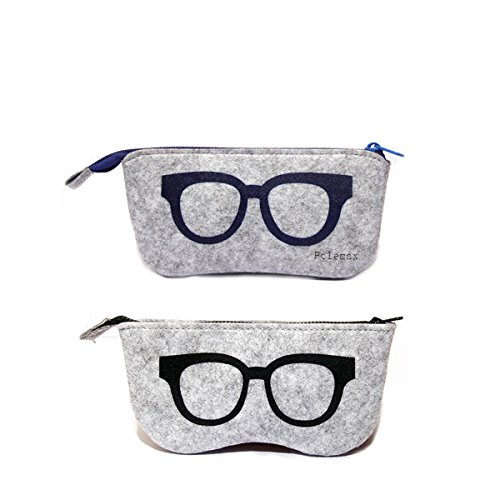 Polemax 3 Pack Portable Soft Slip In Pouch Case for Small Medium Sized Eyeglass Frame /& Sunglasses Felt Glasses Case