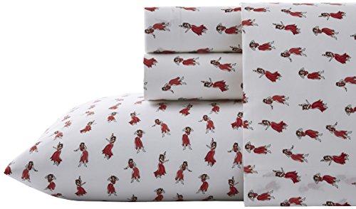 Nine Palms Hula Sheet Set, King, Bright Red
