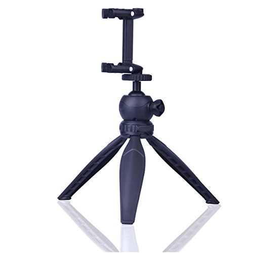 DAYOOH Mini Tripod with Cell Phone Clip Holder for iPhone - Lightweight Tripod Stand with Swivel Ball Head for DSLR Camera Cellphone Gopro,Black