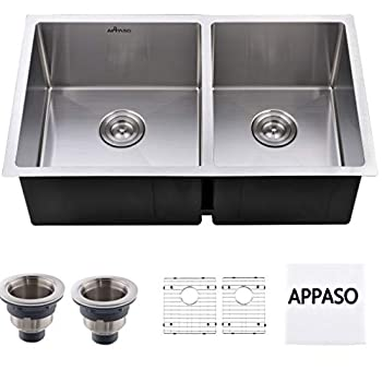 Image of APPASO 32-inch 60/40 Double Bowl Kitchen Sink Undermount, 18 Gauge Stainless Steel 10 inch Deep Commercial Handmade Large Drop-in Kitchen Sink, R321964 Touch On Faucets