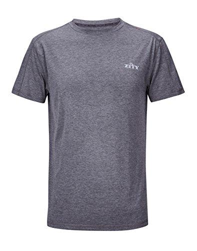 ZITY Mens Cycling Lightweight T Shirt,Sports Running Short Tees Grey L