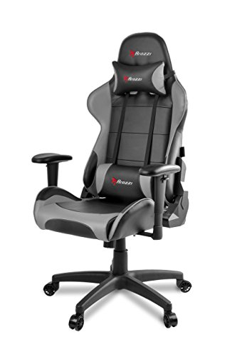Arozzi Verona V2 Advanced Racing Style Gaming Chair with High Backrest, Recliner, Swivel, Tilt, Rocker and Seat Height Adjustment, Lumbar and Headrest Pillows Included, Grey
