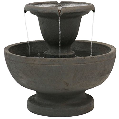 Sunnydaze Streaming Falls Outdoor Water Fountain, 2-Tier Garden and Patio Waterfall Feature, 25 Inch