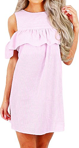 - PINUPART Women's Cold Shoulder Ruffled Stripe Casual Dress M Pink