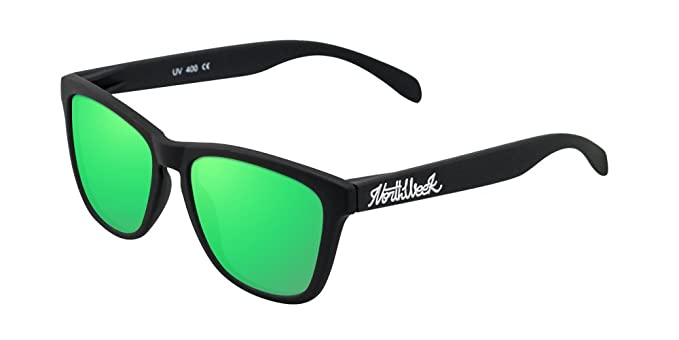 NORTHWEEK Creative Gafas de Sol, Matte Black/Green, 52 Unisex