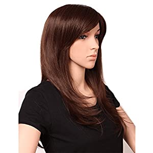 """S-noilite 23""""/58cm Long Straight Layered Hair Wigs with Bangs for Women Ladies Natural Daily Cosplay Party Dress Costume Heat Resistant Synthetic Full Head Wigs (Medium Brown)"""