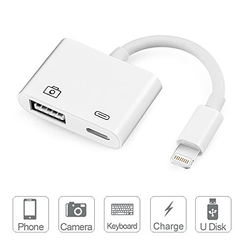 Lightning to USB Camera Adapter - Bambud Lightning to USB 3.0 Female OTG Adapter Cable With Charging Interface For iPad mini Air Pro and iPhone X 8 8plus 7 7plus 6 6s 6plus 6s plus 5 5c 5s