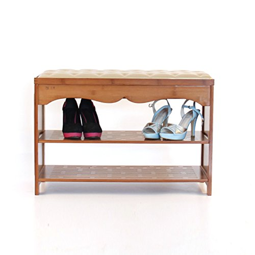 [Classical] [Bamboo] Leather Shoe Stool,Storage Bamboo Shoe Rack Shoes Stool-Flip Shoe Cabinet 602948cm