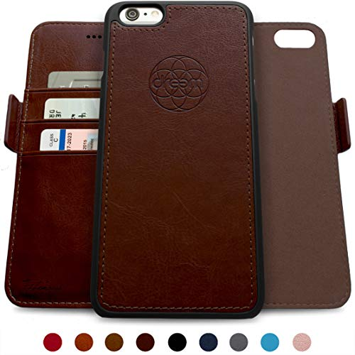- Dreem Fibonacci 2-in-1 Wallet-Case for iPhone 6 & 6s, Magnetic Detachable Shock-Proof TPU Slim-Case, RFID Protection, 2-Way Stand, Luxury Vegan Leather, Gift-Box - Coffee