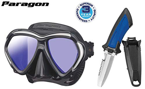 TUSA M-2001 Paragon Scuba Diving Mask, Black/Black w/ Mini Blunt Tip Dive Knife ()