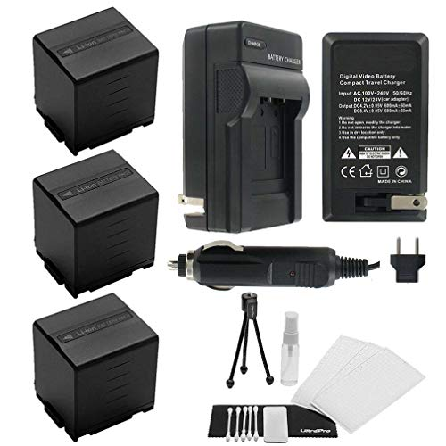 3-Pack CGA-DU21 High-Capacity Replacement Batteries w/Rapid Travel Charger for Select Panasonic Digital Cameras. UltraPro Bundle Includes: Camera Cleaning Kit, Screen Protector, Mini Travel Tripod ()