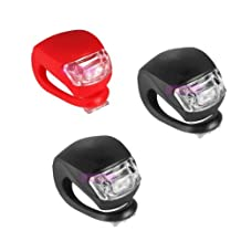 Urparcel Silicone Frog LED MTB Mountain Bike Cycling Light Front/Rear Safety Warning Lamp (2 black silicone white light +1red silicone red light)