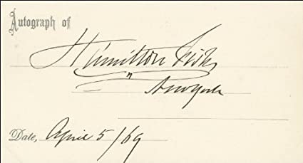 Hamilton Fish - Printed Card Signed In Ink 04/05/1869 at