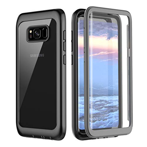 Samsung Galaxy S8 Case, Full Body Bumper Case Built-in Screen Protector Slim Clear Shock-Absorbing Dustproof Lightweight Cover Case Samsung Galaxy S8 (5.8 Inch)-Black+Grey/Clear.