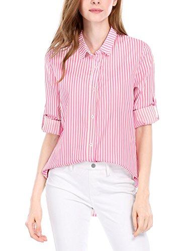 Pink Striped Shirt (Allegra K Women's Striped High Low Hem Long Roll Up Sleeve Shirt Pink White L)