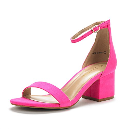 Low Women's Heel Sandals Ankle DREAM Strap with Pump Suede PAIRS Chunk Fuchsia Low 5x45RwX