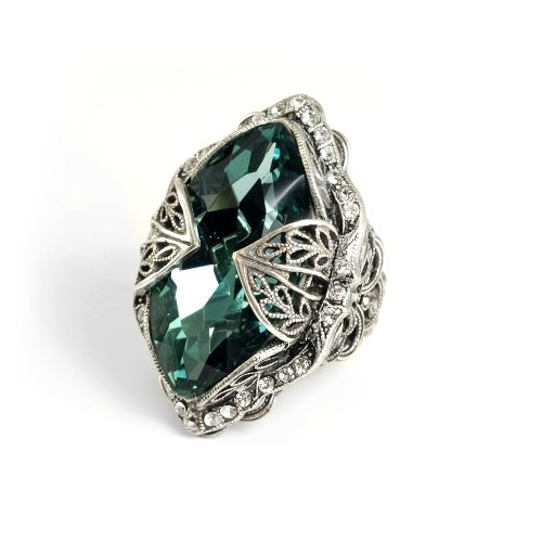 Romance Ring (Sweet Romance Aurora Navette Jewel Rings (Teal))