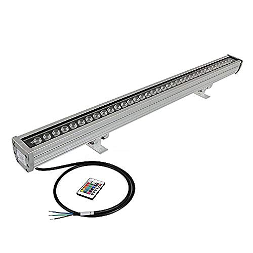 Light 1 Washer Wall (H-TEK 108W 100CM/40 LED Wall Washer, RGB Color Changing Linear Light Bar, 120V, IP65 Water Proof, 100cm/39.37in/3.2ft Length)