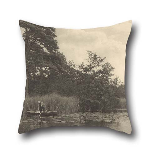 [Oil Painting Peter Henry Emerson (British, Born Cuba - The Haunt Of The Pike Throw Pillow Case ,best For Home Theater,dining Room,boys,play Room,office 16 X 16 Inches / 40 By 40 Cm(twin] (Henry V Play Costumes)