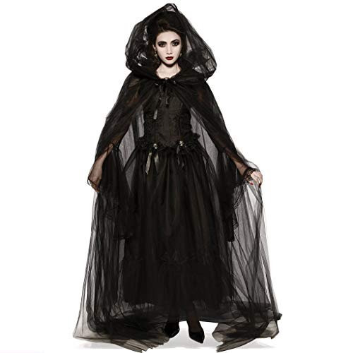 LODDD Women Halloween Cosplay Costume Vintage Witch Demon Long Sleeve Maxi Dress Black