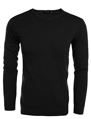 COOFANDY Men's Casual Slim Fit Crewneck Sweater Long Sleeve Basic Knitted Pullover Sweaters (L, Black) by COOFANDY (Image #7)