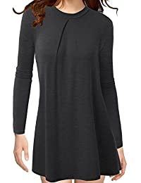 Thanth Womens Long Sleeleve High Neck Pleats Detail Tunic Top