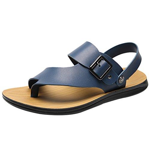 Vogstyle Herren Casual Sandals Offene Schuhe Pantolette Flach Outdoor Sandalen Art 4-Blau