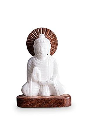 impressionata deko figur buddha aus alabaster und holz weiss braun 16 cm oder 21 cm