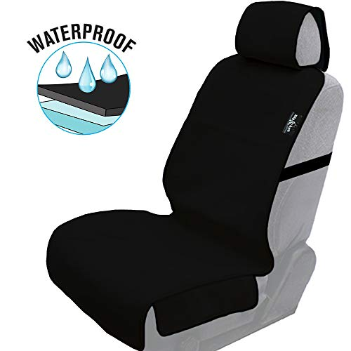 Waterproof Seat Covers, Universal Waterproof Car Seat Cover Sweatproof Car Seat Protector with Nonslip Neoprene Auto Bucket Seat Cover - Perfect for Running, Gym, Beach and Pets(Black-1PC)