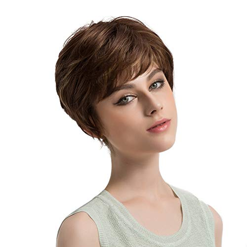 (856store Comfortable Cool Synthetic Wig Short Curly Partial Bangs Hair Wig for Women Girl Party)