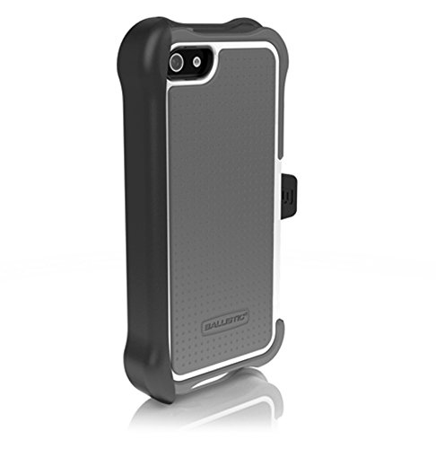 Ballistic SX0945-M185 SG Maxx Case with Holster for iPhone 5, Charcoal Silicone/Charcoal TPU/White PC - 1 Pack - Retail Packaging - Gray ()