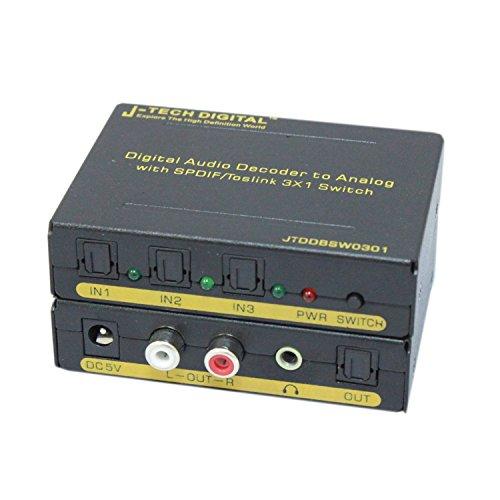 J-Tech Digital JTDDBSW0301 Digital to Analog Audio Decoder with SPDIF/Toslink 3X1 Switch Support 5.1-Channel Audio