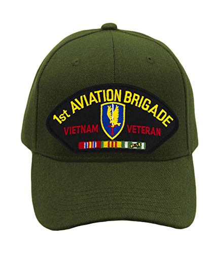 (Patchtown 1st Aviation Brigade - Vietnam Hat/Ballcap Adjustable One Size Fits Most (Olive Green, Add American Flag))