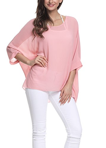 iNewbetter Womens Floral Batwing Sleeve Chiffon Beach Loose Blouse Tunic Tops PB309