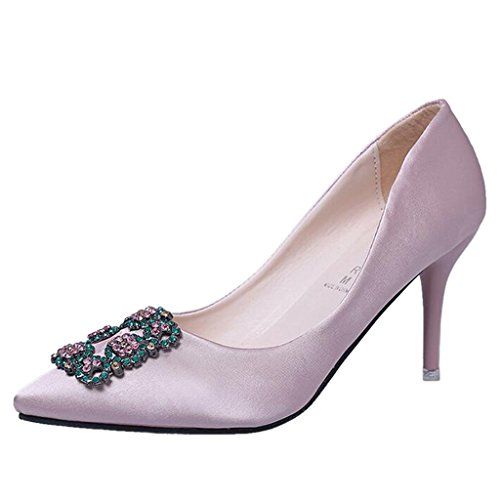 Diamond Mouth Women's High Binying Buckle Heel Pumps Pink Toe Satiny Shallow Pointed WqX1On1f
