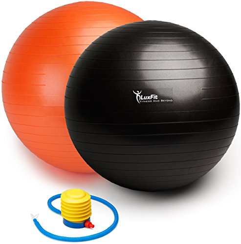 Exercise Ball, LuxFit Premium EXTRA THICK Yoga Ball '2 Year Warranty' - Swiss Ball Includes Foot Pump. Anti-Burst - Slip Resistant! 45cm, 55cm, 65cm, 75cm, 85cm Size Fitness Balls