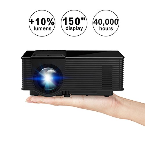 Video Projector,KUAK 1500 Lumens LED Mini Portable Video Pro